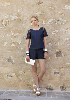 Conjunto jeans com detalhes em renda. Verão 2016 Romariabh #jeans #denim #lace #renda #fashion #moda #lace
