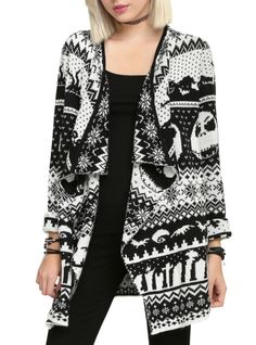 Black & white cardigan from The Nightmare Before Christmas with an allover intarsia knit design.