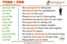 Pojďme se podívat na spojení anglických sloves a předložky 🇫️🇴️🇷️. #anglictina #sloveso #predlozka #for Excuse Me, Forgiveness, Letting Go