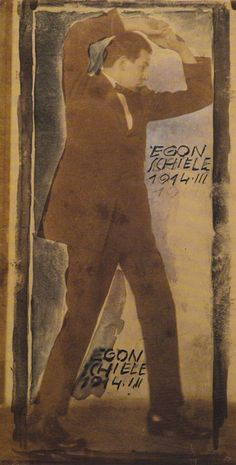 Egon Schiele photographed by Anton Josef Trčka and  overpainted by Schiele - signed twice, 1914.
