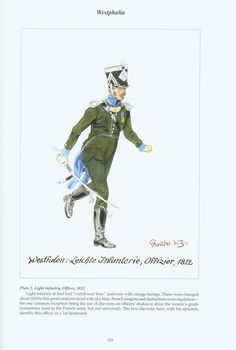 The Confederation of the Rhine - Westphalia: Plate 2. Light Infantry, Officer, 1812