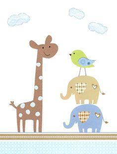 The Happy Giraffe - Kids Wall Art Baby Boy Room Decor Nursery Decor by vtdesigns, $14.00