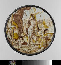 Anonymous   De Opstanding van Christus, Anonymous, c. 1515 - c. 1520   Ruit, rond, van gebrandschilderd glas in de kleuren bruin, geel en rood, met voorstelling van de opstanding van Christus. In het midden (rechts van het rotsgraf) Christus met opgeheven rechterhand en in de linkerhand het kruisbanier. Op de voorgrond één slapende en twee ontwakende krijgsknechten. Op de achtergrond de drie heilige vrouwen op de weg van Jerusalem.