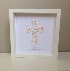 Christening Gift - Baptism Gift for Goddaughter - Christening Wall Art - Button Art - Religious Gift - Traditional Gift - Godparents