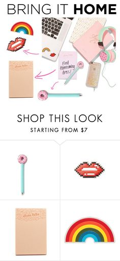 """""""Bring It Home: Desk Goals"""" by polyvore-editorial ❤ liked on Polyvore featuring interior, interiors, interior design, home, home decor, interior decorating, ban.do, Anya Hindmarch and bringithome"""