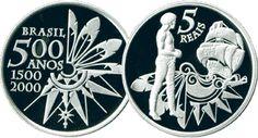 Moeda brasileira de prata 5 reais alusiva aos 500 anos do descobrimento do Brasil 2000