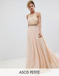 ASOS DESIGN Petite crop top maxi Dress with pearl embellishment Petite Outfits, Petite Dresses, Stylish Petite Clothing, Strapless Dress Formal, Formal Dresses, Pearl Dress, Frack, Mermaid Evening Dresses, Petite Tops