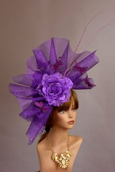 fc94f9d61c284 Purple Fascinator Kentucky Derby Hat Fascinator Cocktail Hat Purple Mask  Party Headband Gold Bridal Coctail Hat Couture Fascinator