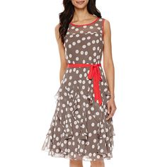 Robbie Bee® Sleeveless Dot Print Fit-and-Flare Dress - JCPenney
