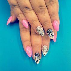 Dream catcher almond nails