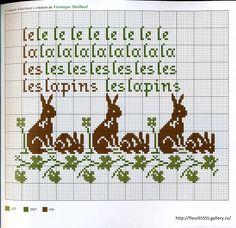 les lapins les lapins - cute rabbits cross stitch pattern
