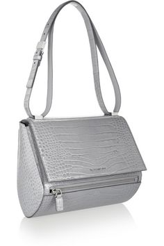 GIVENCHY Medium Pandora Box bag in gray croc-embossed leather $2,290