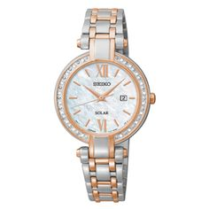Seiko Tressia / Ladies Solar Watch / Powered by light energy / 20 Diamonds, Mother-of-pearl Dial, Rose Gold highlights /  SUT184