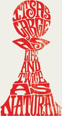 Typography. It's as large as life and twice as natural. Pawn chess piece from Through the Looking Glass! Original typography by Eye Fly High.