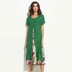 Femei+Rochie+Vintage+Larg+Floral+Rotund+Midi+Bumbac+/+In+–+USD+$+17.99