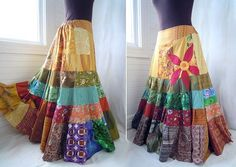 Sun Red Daisy - Long Patchwork skirt, Hippie Boho Gypsy Skirt, appliq…