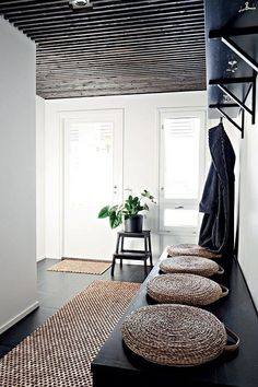 fun #entryway with large bench & cushions for sitting while entering/leaving home