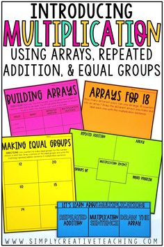 Introducing multiplication to your 2nd and 3rd grade students is fun with these free multiplication activities and multiplication centers. For beginners, these fun games and centers for equal groups, repeated addition, arrays, and word problems are designed for students to have a basic understanding of times tables. This resource includes worksheets, printables, and more for multiplication unit!
