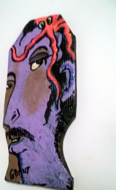 Outsider folk art  wood wall sculpture dated signed  face /octopus OOAK Grant #NaivePrimitive