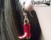 Gold Cowboy Boot Earrings with Red Epoxy Resin- Western Boot Earrings - Cowgirl Boot Earrings - Red Cowboy Boot Earrings - Cowboy Jewelry