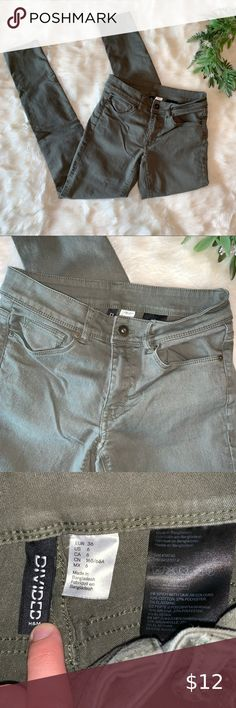 New American Bazi stretch destroyed olive green color skinny rip pants-3-15