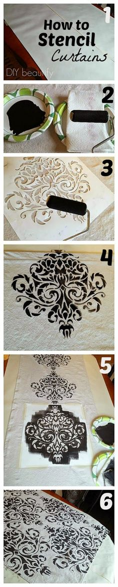 How to stencil drop cloth and make it into curtains! Beautiful, easy and SO affordable! Tutorial at www.diybeautify.com
