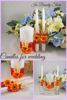 Candles for wedding with sunflowers. #Сustomunitycandle#Candlessunflower #Unitycandleflowers # Price 28 $ Wedding Unity Candles, Unity Ceremony, Unity Candle Holder, Candle Set, Candle Store, Large Candles, Red Berries, Sunflowers, Rustic Wedding