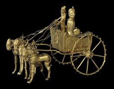 Achaemenid Persia, Gold model chariot from the Oxus Treasure, 5-4th century BC (source).