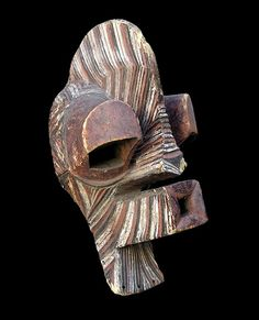 """Africa   """"Kifwebe"""" mask from the Songue people of DR Congo   Wood and pigment"""
