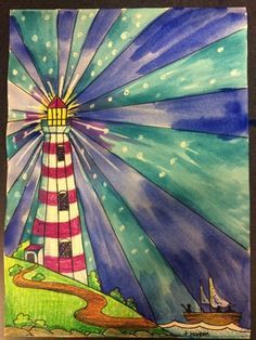 Step by step - Crayon watercolour lighthouse painting