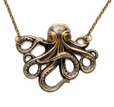 Nautical Jewelry Octopus Necklace Steam by VictorianCuriosities, $25.00