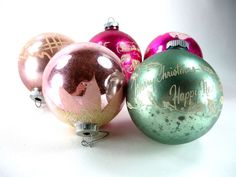 Large Shiny Brite Christmas Ornaments Set of 5 by ChromaticWit