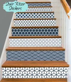 15steps Stair Riser Vinyl Strips Removable Sticker Peel & Stick : Geometrical Blue