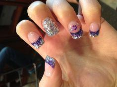 Prom nails! #promnails #purple #silver #solarnails