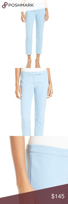 "MILLY Sky Blue Stretch Crepe Cigarette Pant NWT Details Cleanly tailored from comfortable stretch crepe, slim pants are updated for spring with cropped hems and a fresh pastel shade. - 27"" inseam; 14"" leg opening; 9 1/2"" front rise; 13"" back rise (size 8) - Zip fly with hook-and-bar closure - 68% polyester, 22% polyamide, 10% elastomultiester (elasterell-p) - Dry clean - Made in the USA - Individualist Additional Info True to size. Milly Pants Ankle & Cropped"