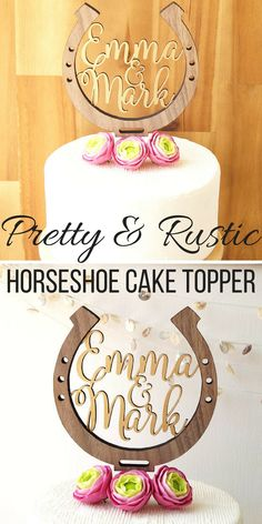 I love this pretty, rustic horseshoe cake topper. It's perfect for that country wedding, barn or farm wedding. I just love the idea of this. #ad #wedding #horseshoe #caketopper #rusticwedding #countrywedding #barnweddings #weddingideas