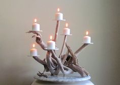 Pure candlelight, beautiful!! Driftwood Six Candles Candelabra Wedding door DriftingConcepts, $98.50