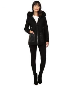 Calvin Klein Fashion Fur Trimmed Hood with Oversized PU Pocket (Black) Women's Coat