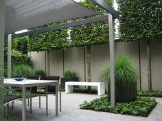 Een mooi voorbeeld van een moderne designtuin in Houten. Strak, rustig en overzichtelijk. Maar tegelijkertijd warm en uitnodigend.