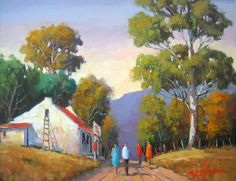 Willie Strydom – Rural Shop x 450 . African Art Paintings, Original Paintings, Oil Paintings, House Paintings, Watercolor Landscape Paintings, Landscape Art, Drawing Grid, Building Painting, South African Artists
