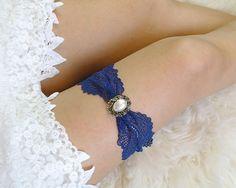 Elegance Navy Blue Something Blue Lace Garter Pearl Bridal Honeymoon Lingerie Keepsake Toss wedding Single