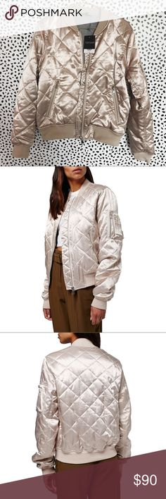 Topshop Shiny Quilted Satin Bomber •Pearlescent pink quilted bomber jacket.    •Size US8, best for a M/L.  •New with tag.  •NO TRADES/HOLDS/PAYPAL/MERC/VINTED/NONSENSE Topshop Jackets & Coats