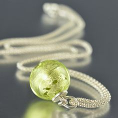 CLOSE OUT Bright Chartreuse Venetian glass by southpawstudios, $30.00