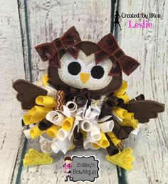 Awesome owl funky loopy hair bow!  https://www.facebook.com/bowmakindiva/photos/a.875801882459056.1073741881.664051576967422/875809635791614/?type=3&theater