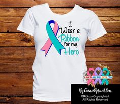 Thyroid Cancer I Wear a Ribbon For My Hero shirts featuring scripted text and…