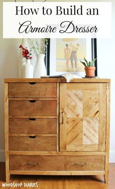 How to build a Modern DIY Dresser Armoire. Free building plans for this DIY storage dresser that could serve as a DIY changing table for a baby's room too Diy Dresser, Diy Storage, Diy Baby Furniture, Diy Furniture Projects, Home Diy, Building Furniture, Armoire Diy, Diy Storage Dresser, Woodworking Plans