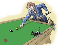 """2 October 1908 -  Mark Twain talks about his cats in a letter to Mable Larkin Patterson: """"...One of them likes to be crammed into a corner-pocket of the billiard table -- which he fits as snugly as does a finger in a glove and then he watches the game (and obstructs it) by the hour, and spoils many a shot by putting out his paw and changing the direction of a passing ball..."""""""