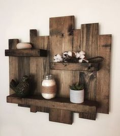 Floating Pallet Shelves Rustic Wall Shelves, Rustic Floating Shelves, Wood Wall Shelf, Rustic Walls, Wood Wall Art, Glass Shelves, Pallet Wall Shelves, Reclaimed Wood Shelves, Diy Wooden Shelves