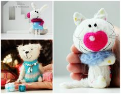 http://www.etsy.com/shop/farberovao artist teddy bears and friends, needle felted animals, one of a kind dolls, miniature furniture, wooden roomboxes. Miniature playing compositions!