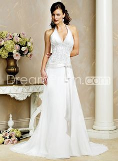 Attractive Sheath/Column Halter Court Train Embroidery Wedding Dresses